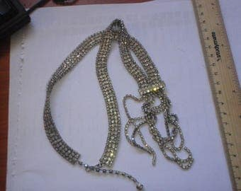 Stunning rhinestone flapper style necklace with j hook clasp 1940s vintage y necklace