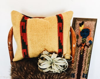 Vintage Wool Yellow Pillow Cover / Southwestern Pillow Cover