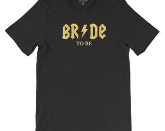 Bride to be t-shirt inspired by AC-DC with real glitter print - wedding, hen party