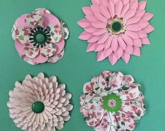 Pink and Green Paper Wall Flowers, Nursery Decor, Party Decor