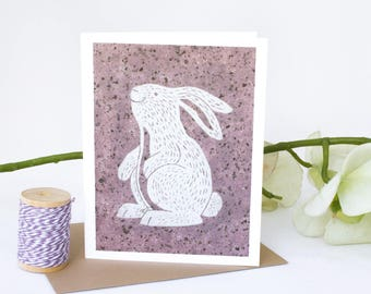 Note Card Set - 6 Blank cards - Note Cards - Handmade Cards - Stationery - Linocut - Set of cards - Novelty Cards - Woodland - Bunny Rabbit