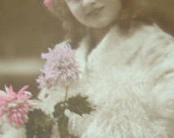 Vintage Hand Tinted RPPC of Little Girl