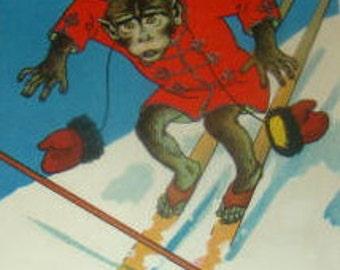 Funny Vintage Artist Signed Postcard (Monkey On Skis)