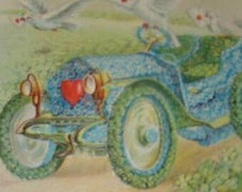 Vintage Floral Postcard (Car # 3)