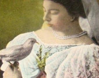 Nice Vintage Postcard (Lady Holding A Dove)
