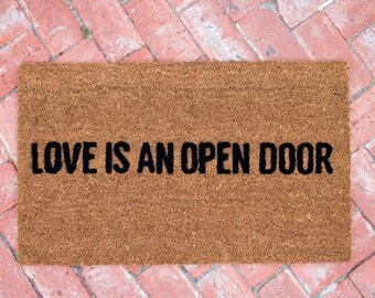 Love is an Open Door Outdoor mat, Coir Door mat, 18x30, Charmed Oasis