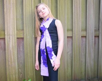 Vivian Purple and Lavendar Floral Print Scarf for Girls