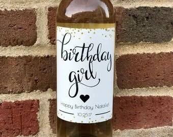 Birthday Wine Label - Custom Birthday Gift - Personalized Wine Label - Wine Sticker- Happy Birthday