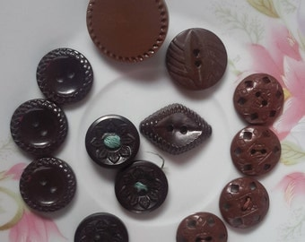 Vintage brown lot buttons, craft sewing buttons, mix assorted