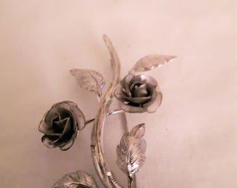 Vintage Signed Bond Boyd Sterling Flowers and Leaves Brooch - 1970s