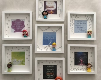 Disney princess frame with princess figurine and Disney quote girls princess room