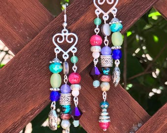 Boho Heart Dangle Earrings || Multi Color Earrings || Semi Precious Earrings