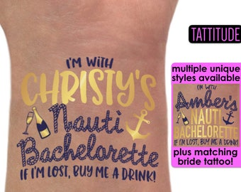 Let's Get Nauti Nautical Bachelorette Party Tattoos | Brides crew, last sail before the veil, lets get nauti themed bachelorette tattoos