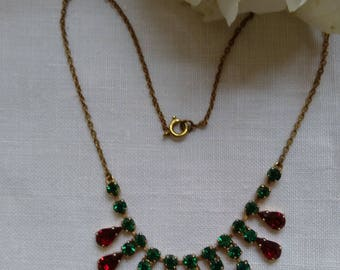 Gorgeous Vintage Choker Green & Red Diamante Necklace.