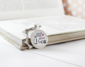 Key fob Dog, keychain, dog owner gift, dog, gift for dog lover, life is better with a dog