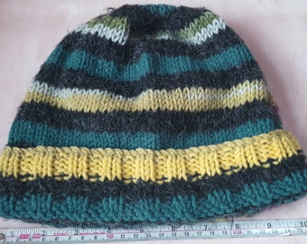 Adult's Black &Green Beanie hat, Hand knitted Black multi colour 20% Mohair, Variety Green type Aran, Handmade, Designed, Beanie hat, Warm.