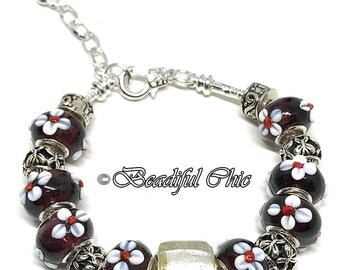 White Flowers Shining European Style Charm Bracelet