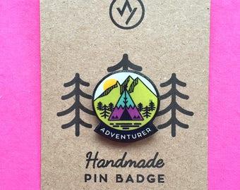 Adventurer Pin Badge, Teepee, Mountains, Camping, Globe