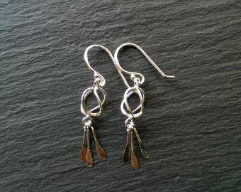 Silver dangle earring - geometric earring - bar fringe earring - hypoallergenic earring - modern earring - small silver earring - gift idea
