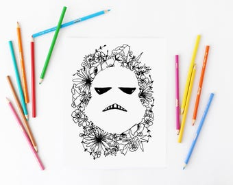 Floral Coloring Page / Storm Trooper Coloring Page / Flower Coloring Page / Star Wars Coloring Page / Adult Coloring Page / Coloring Book