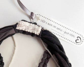 Knotted necklace black and gray cotton and strands of pearls