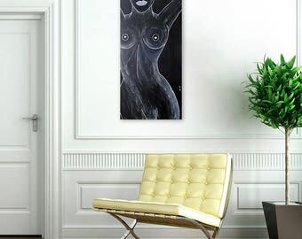 "Naked: Handmade Acrylic Painting on Canvas - Original Black and White Art - Medium Size 24"" x 12"" - Modern Home Decor"