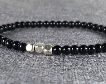 4mm Black Bead Stretch Bracelet with Silver Cube Beads