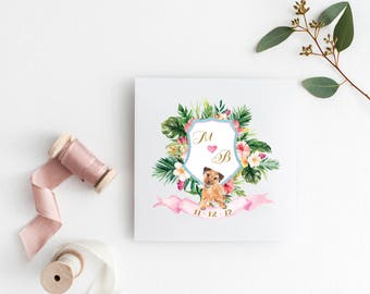 Tropical Wedding, Monogram, Wedding Logo, Premade Logo, Custom Logo, Custom, wedding Gift,Personalized Wedding Initials, Logo, Wedding,Crest