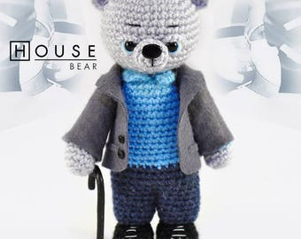 House, M. D. Knitted bear Gregory House toy bear Knitted teddy bear Toy bear Crochet bear Knitted teddy Knitted Toy House, M. D.