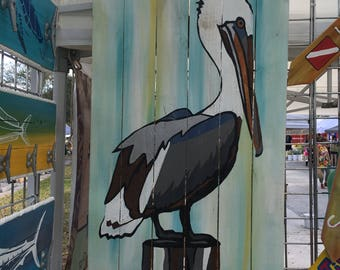 Pelican Pallet Art, Ocean art, Reclaimed wood, Bird art, Bird Wall Hanging, Coastal Decor