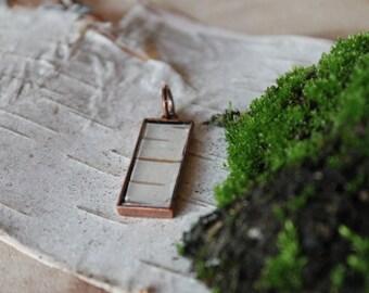 Small Birch Bark Rectangle Pendant in Copper