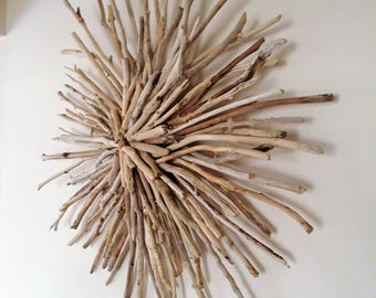 Driftwood sunburst wreath,wall art,sculpture,front door hanging,beach decor,coastal,cottage,lake,nautical,modern,minimal,wood,cottage,rustic