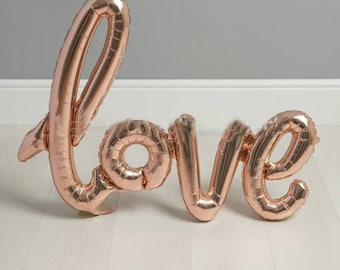 Rose Gold LOVE Balloon  - Script/Handwritten - Free Shipping Wedding / Anniversary / Engagement Party Decor / Bridal Shower / Valentines Day