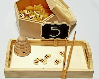 Honeycomb Bumblebee Counting Sensory Bin, Preschool Math, Montessori Numbers, Reggio Emilia Loose Parts, Waldorf, Ten Frame Sorting Tonging