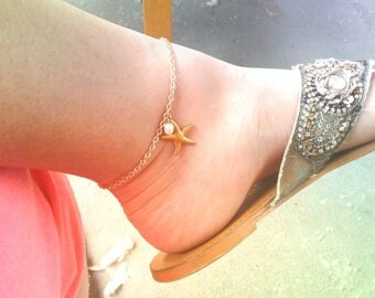 Gold Starfish Pearl Anklet Starfish Ankle Bracelet Gold Starfish Anklet Pearl Ankle Bracelet Women's Ankle Bracelet Women's Anklet