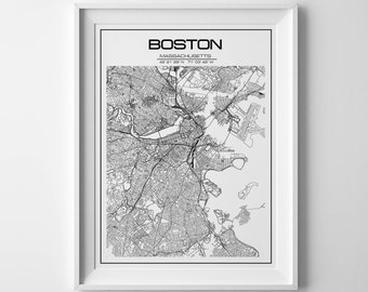 Boston Wall Art boston map | etsy