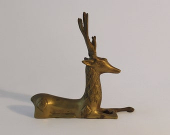 Seated Brass Stag Sculpture