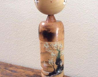 Large Japanese Hand-Painted Wooden Kokeshi Doll