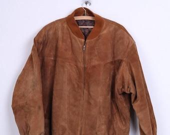Leather Mens 40 L Bomber Jacket Camel Suede Vintage