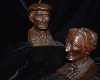 Basque Couple Carved Wood Sculptures by J. Alberdi