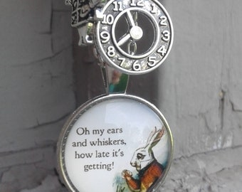 White Rabbit, I'm late, Alice in Wonderland Charm Necklace