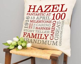 Personalised 100th Birthday Word Art Cushion