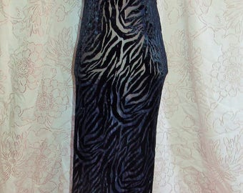 Womens' Navy Burnout Velvet Over Tan Lycra Latin Ballroom Lyrical Contemporary Dance Recital Show Competition Costume Dress