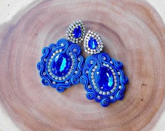 Long party earrings| Boho earrings| bridesmaids earrings| soutache| elegant earrings| Handmade bridal earrings| fashion soutache earrings