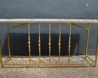 Gold Twist Stone Top Sofa Console Table