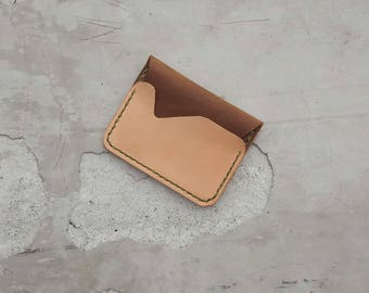 2 tone Leather Flap Wallet Handmade