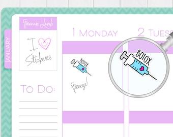 Botox Reminder Stickers, Planner Stickers, Salon Stickers, Cute Kawaii Stickers, Small Stickers, Calendar Stickers, Labels