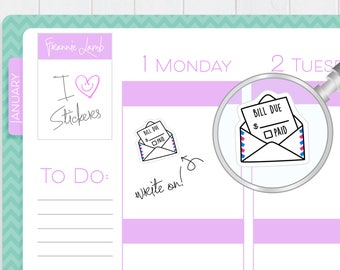 Bill Due Stickers, Planner Stickers, Write-On Planner Stickers, Calendar Stickers, Bill Due Reminder, Small Kawaii Stickers, Labels