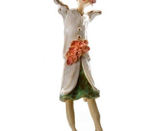 Ceramic Wall Art |  White Coat | Olive Dress  | Orange flowers and Hat  | Elegant Fashionista Angel | Quirky Gift or a Home Decor