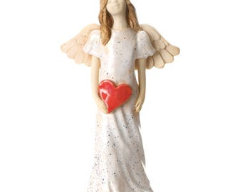 White Angel Figurine | Red Heart | Quirky Ceramics | Contemporary Design | Clean & Simple Lines